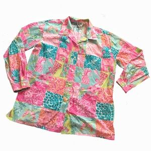 Vintage 90's Lilly Pulitzer Jungle Patch Work Top